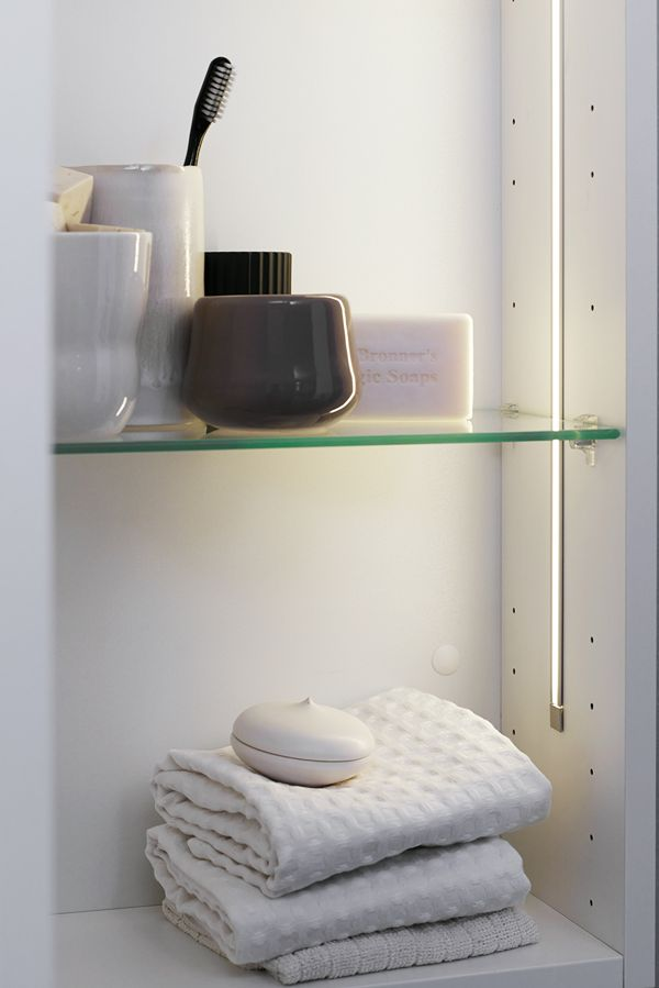 Cabinets with internal LED strips add a nice touch to your bathroom décor. They also provide a good overview of the contents of your cabinet – without blinding you when opening it.