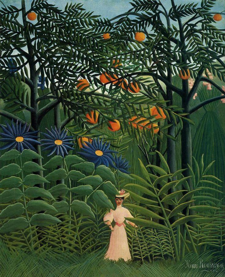 Henri Rousseau (French, 1844 - 1910)Femme marchant dans une forêt exotique, 1908