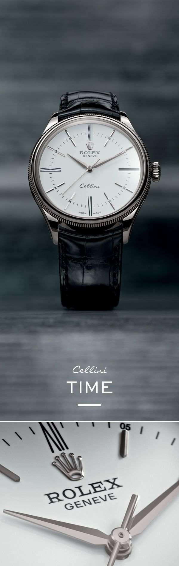 """The new Rolex Cellini Time 39 mm in white gold with a silver dial featuring a """"rayon flammé de la gloire"""" guilloche motif and mounted on an alligator leather strap."""