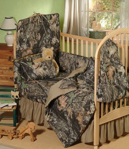 Your baby boy's nursery can match your camo decor with this Mossy Oak New Breakup camo bedding crib set. The New Break-Up features ghost shadows with enhanced 3-D illusion and realism of digitized elements like bark, branches and leaves. Once he is grown out of his crib a bedding ensemble in twin, full, queen or king is available to coordinate his decor and no need for you to change the window treatments and accessories.