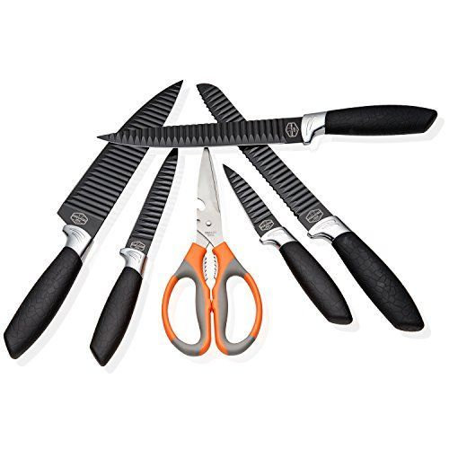 Professional Kitchen Knives Set of 5  Scissors New Modern Design Stainless Steel Corrugated Blades Chef Grade Textured Comfort Grip Handles Craft Box Packaging Perfect Gift  by HomeKitchenStar