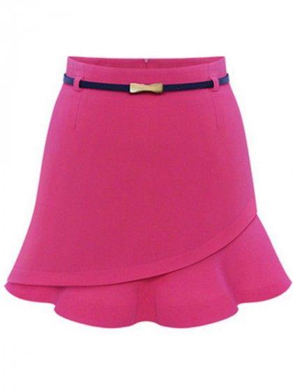 Flounce-Hem Plain A-Line Mini Skirt | WithChic