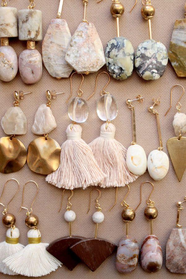 Semi-precious earrings with marble, quartz, ocean jasper and moonstone