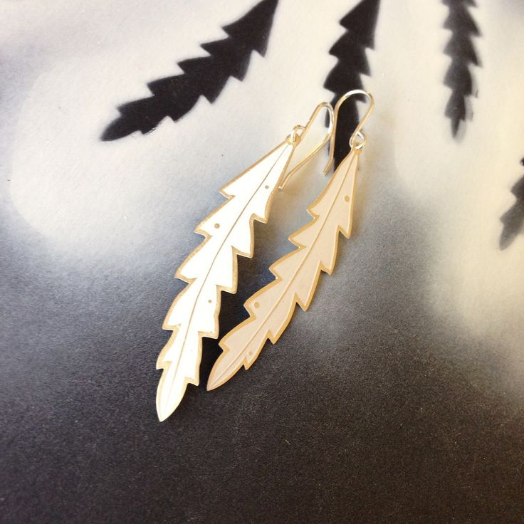 Banksia Leaf Earrings (white) By Jessica Jubb