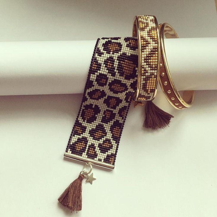 Mon truc à moi l'hiver c'est les accessoires en léopard.... AlorS je me fais plaisir aussi en tissant.... #leopard #perlesandco #folledeperles #myinspiration #jenfiledesperlesetjassume #jenfiledesperlesetjaimeca #miyukibeads #miyukidelica