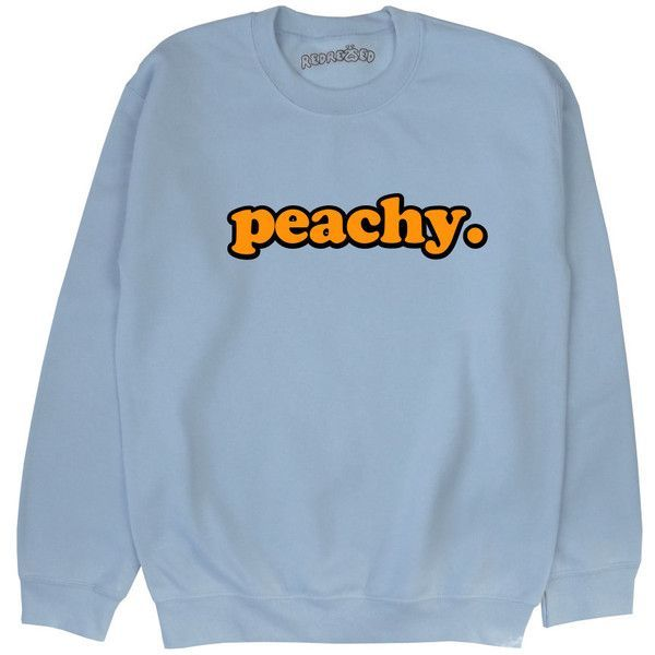 Peachy Sweatshirt Unisex Kawaii Grunge Pastel Pink Blue Yellow Tumblr... ($23) ❤ liked on Polyvore featuring tops, hoodies, sweatshirts, sweaters, jumper, black, women's clothing, pink top, grunge tops and blue sweatshirt