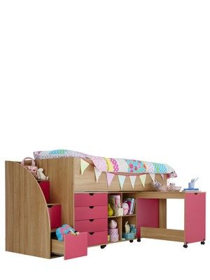 Kidspace Milo Mid Sleeper Kids Bed Frame with Storage Steps, http://www.littlewoodsireland.ie/kidspace-milo-mid-sleeper-kids-bed-frame-with-storage-steps/1188467912.prd