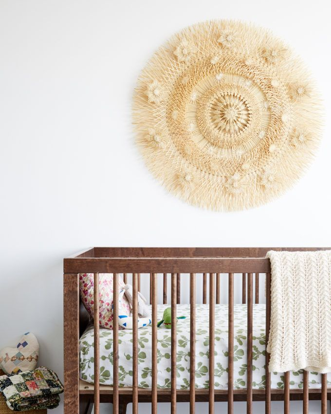 Round wheat wall hanging in the nursery