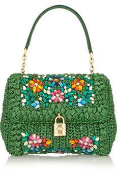 Dolce & Gabbana Dolce medium embellished raffia and leather shoulder bag