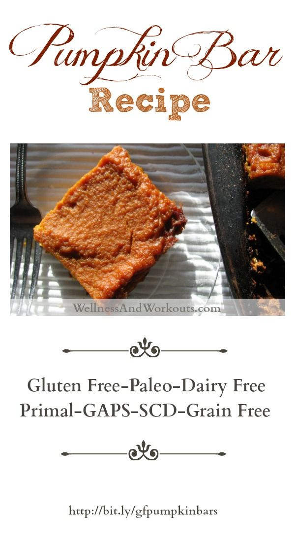 Gluten free, grain free, dairy free Pumpkin Bar Recipe. Paleo, Primal, GAPS, SCD legal. These pumpkin bars have a coconut flour crust, and use coconut milk and coconut oil to substitute for dairy ingredients. Delicious!