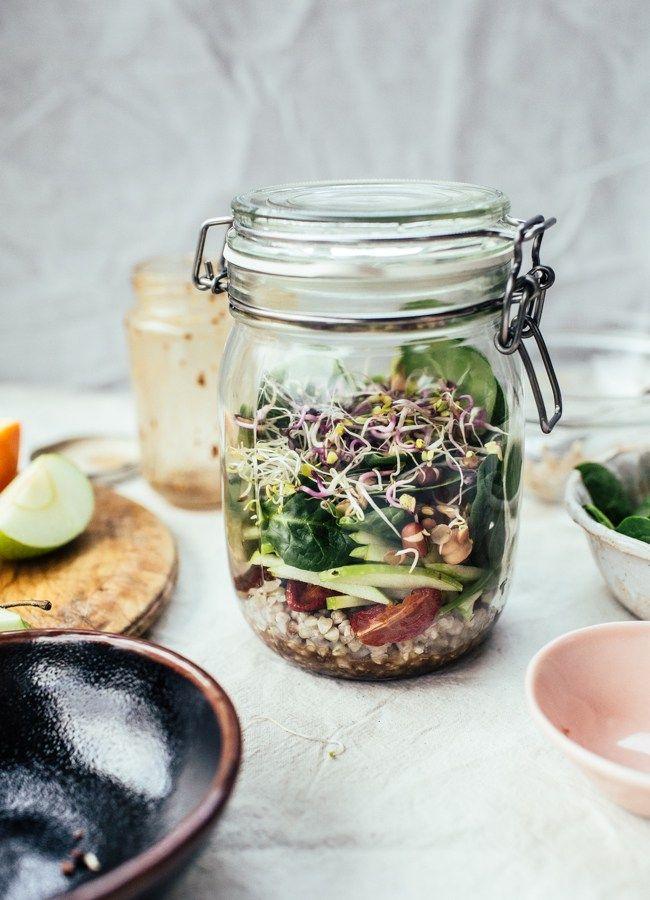 Easy Desk Lunch III: Buckwheat, Apple & Orange Jar Salad (Vegan, GF) - Izy Hossack - Top With Cinnamon