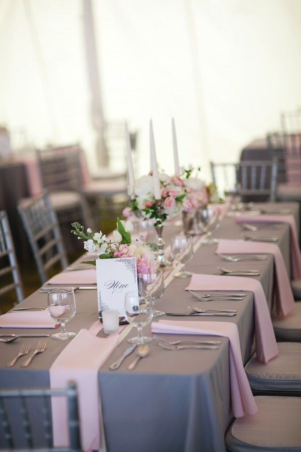 southern pink & gray wedding with very basic gray tables that aren't drab