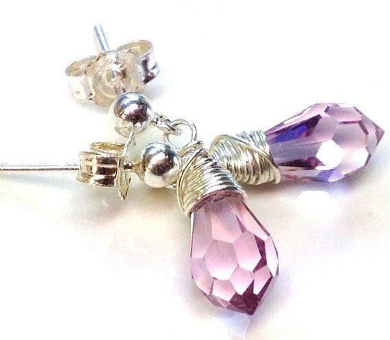 Girl's pink Swarovski crystal earrings-Sterling silver by Emmalishop