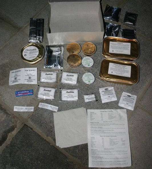 """An """"Einmannpackung"""" [One Man Package], or short EPA; the combat ration of the German Bundeswehr. This is a Type II, shown with the included package notes but already missing the chocolate."""