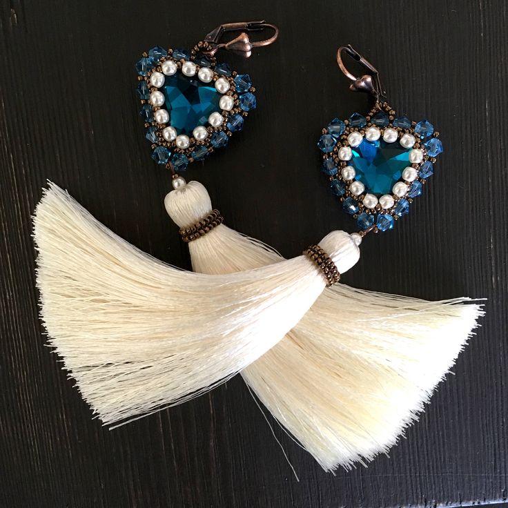 Tassel Earrings, SIESTA, beaded earrings, blue earrings, tassels by Sjamgal on Etsy https://www.etsy.com/listing/539272465/tassel-earrings-ciesta-beaded-earrings