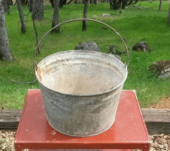 Industrial Pail Galvanized  $30   Large Planter Plant  Trough Handle Mid Century Farmhouse Country Wedding Chic Shabby Rusty Garden