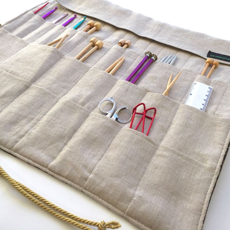 Large Knitting Needle Case/Roll/Organizer in Beautiful Tapestry and Classic Linen          (item K109) by TheMeditationRoom on Etsy https://www.etsy.com/listing/262609455/large-knitting-needle-caserollorganizer