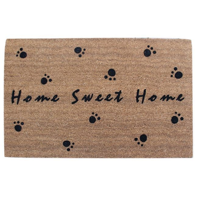 "First Impression Home Sweet Home fade resistant Flocked Coir Large Door Mat (2' x 3') (24X36""X0.7""), Black"