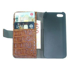 Brown Wallet Leather Case for iPhone 5 with Inner Slot