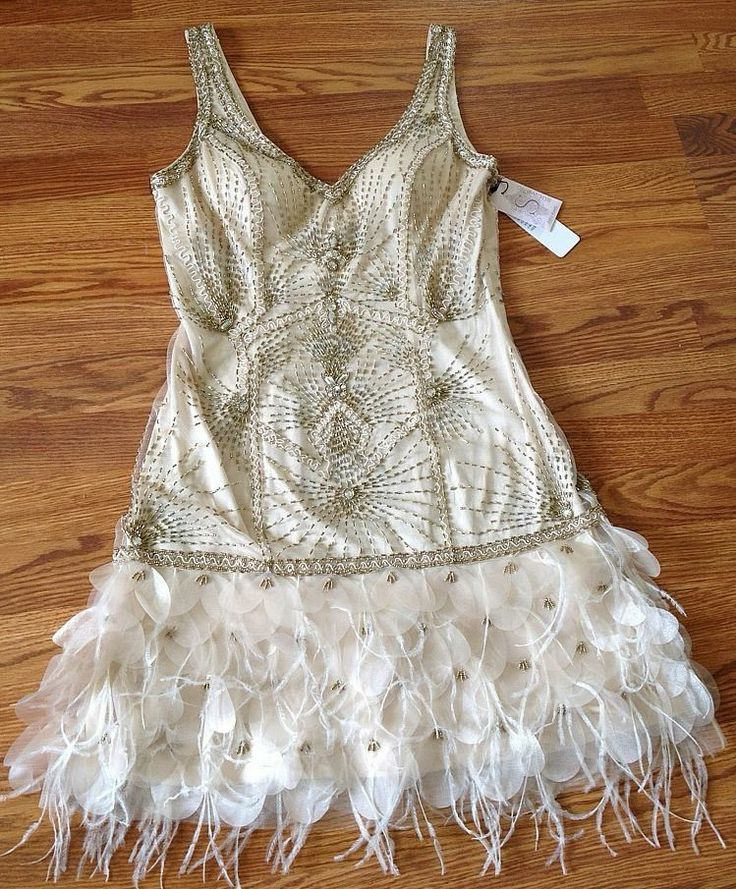 SUE WONG 1920's Gatsby Champagne Beaded Feather Evening