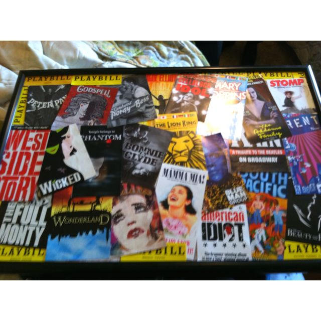 Playbill collage!! (Original by me) Playbills cheap in bulk on eBay! Frame cheap from Walmart and tacky glue!! Arrange how you want! Enjoy!!!