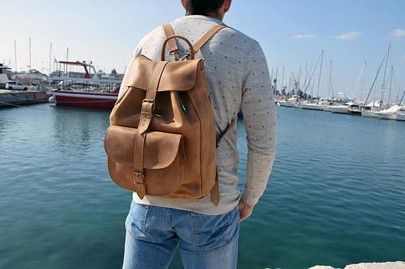 Leather Backpack, Leather Rucksack, Brown Leather Backpack, Travelbag, Made in Greece from Full Grain Leather, EXTRA LARGE.