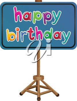 Illustration of a happy birthday signboard on a white background
