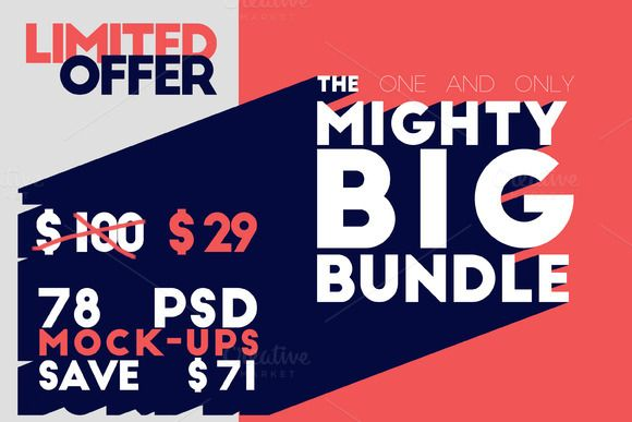 The Mighty Big Bundle - 78 Mock-ups by Northern Kraft on Creative Market