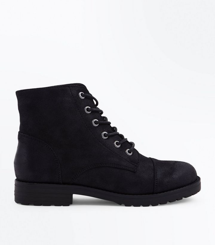Teens Black Leather Look Worker Boots | New Look