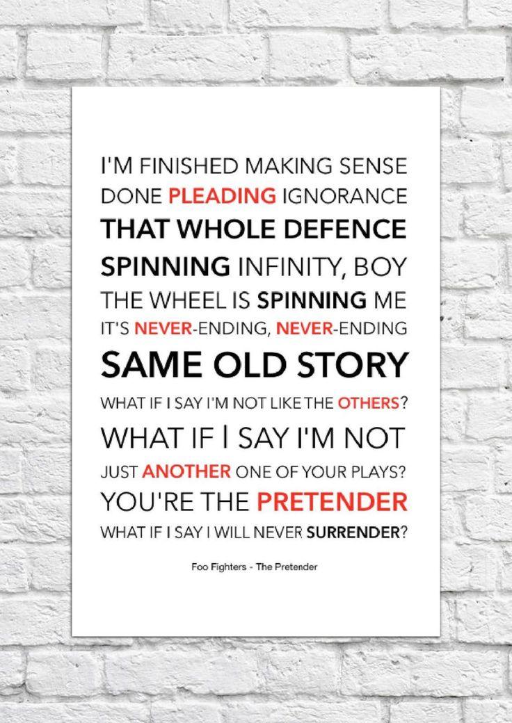 Foo Fighters - The Pretender - Song Lyric Art Poster - A4 Size   eBay in 2020   Foo fighters lyrics. Song lyrics art. Song lyric print