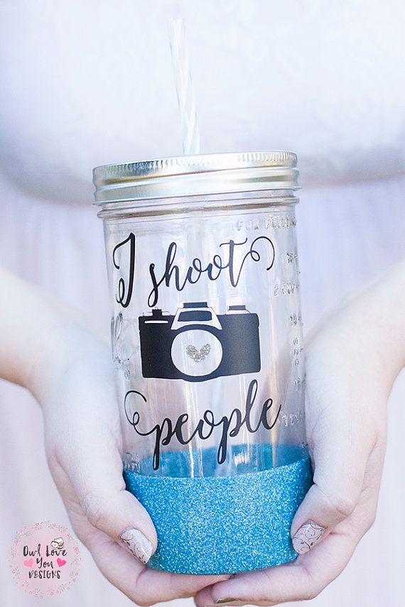 I Shoot People 24 oz Mason Jar Tumbler by Owlloveyoudesign on Etsy