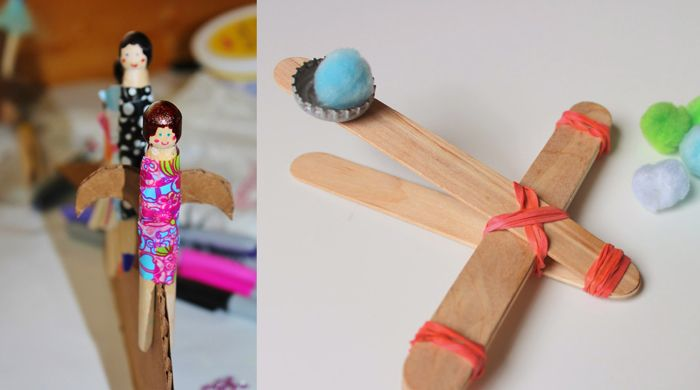 Peg dolls kids craft,catapult made from tongue depressors