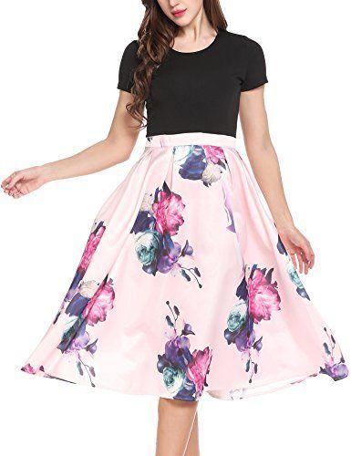 f79242e6dc3 ACEVOG Women s Vintage Patchwork Short Sleeve A Line Swing Tea Party Dress