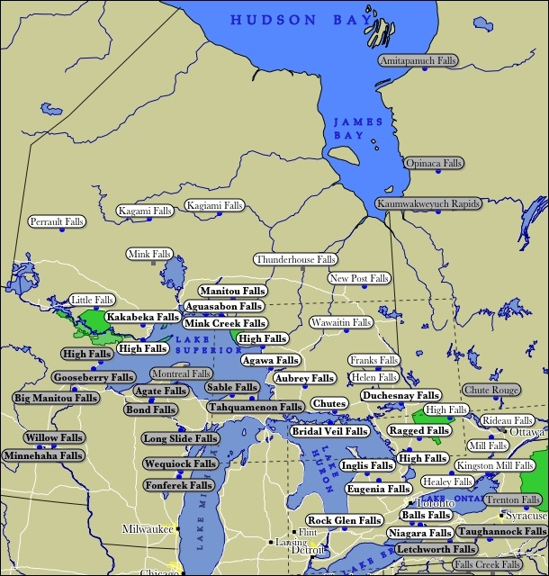 Map of Ontario WaterFalls