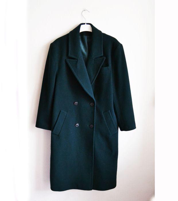ciemnozielony płaszcz długi oversize retro vintage butelkowy z klapami kołnierzem dwurzędowy ciemny