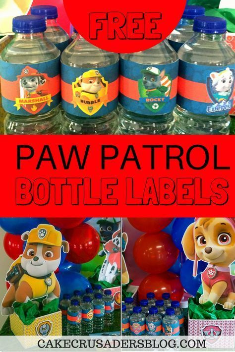 Free Paw Patrol Water Bottle Labels Great party idea for your table