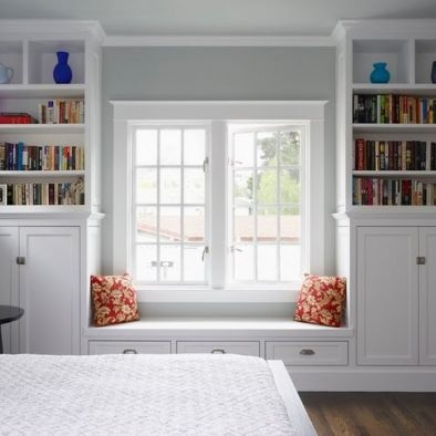 Bedroom Built In - love the idea of a bench under the window...