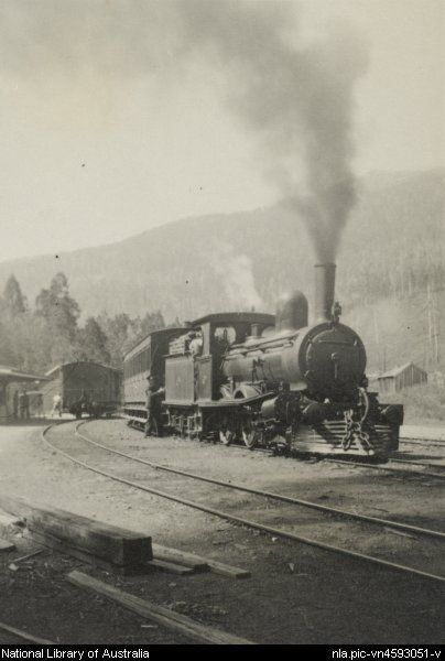 Johnson, W. R. B. Tasmanian Government Railways locomotive B7 at Fitzgerald with a passenger train from Hobart, Tasmania, 1 March 1937