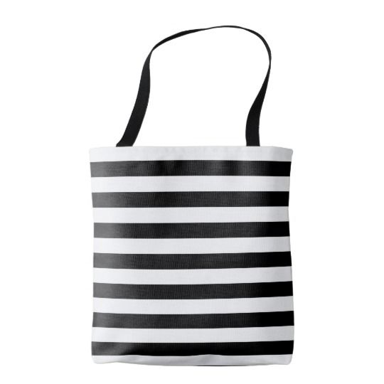 Marine stripes pattern, thick black & white lines tote bag