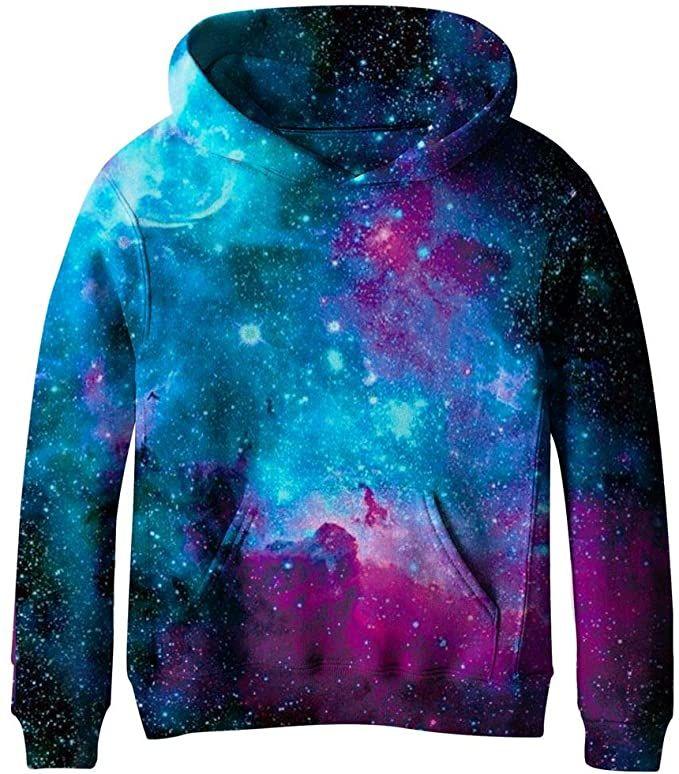 SAYM Boys Girls Kids Galaxy Fleece Universe Sweatshirts Pullover Hoodies