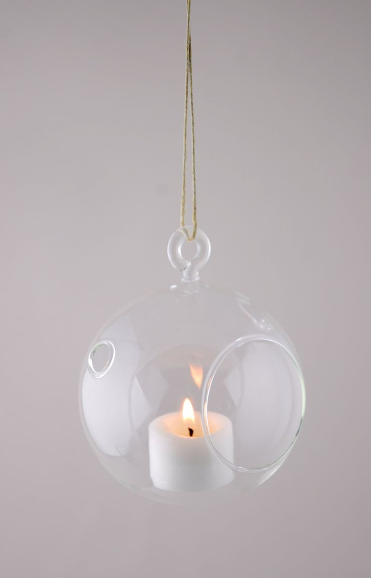 Hanging Glass Candle Holder 4in