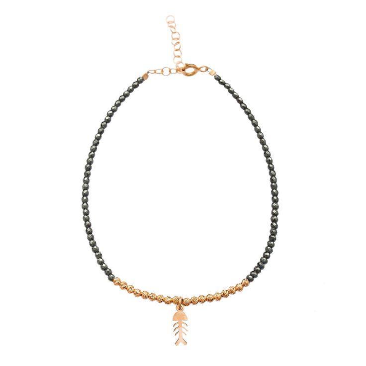 925 Silver Fish Charm Hematite Bracelet, Black Hematite Stone Bounce Fashion Turkis Handmade Bracelet