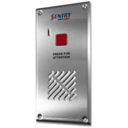 Sentry intercom, 1 button, door station. Vandal proof entrance station with a stainless steel weather proof vandal resistant button, speaker and microphone.