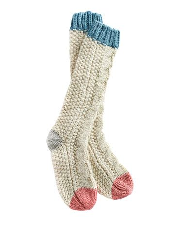 Joules null Womens Cable Knit Sock, Creme.                     Cold feet can now be a thing of the past, thanks to these wool-rich lounge socks. Pull them on when you're getting cosy in your onesie for the ultimate in relaxed style.