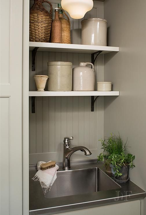 Gray Green Laundry Room with Small Stainless Steel Sink and Countertop, Cottage, Laundry Room