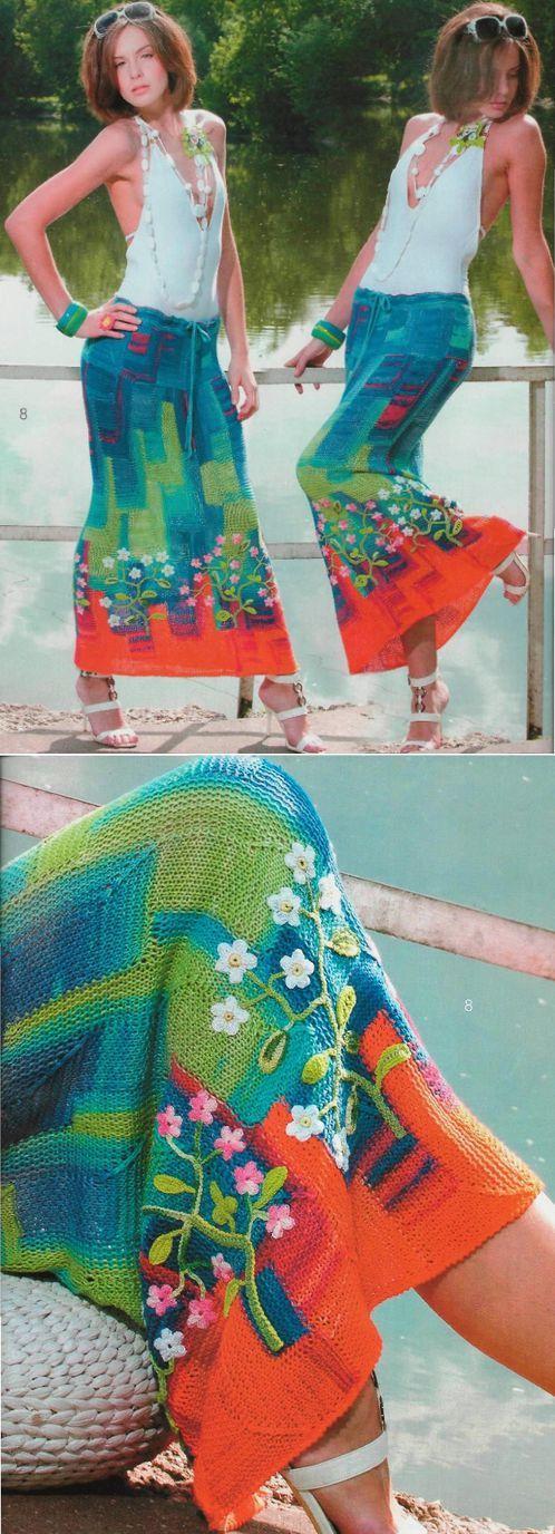 секционная юбка-макси в технике пэчворк с цветочным декором по подолу | Пэчворк крючком и спицами | Постила