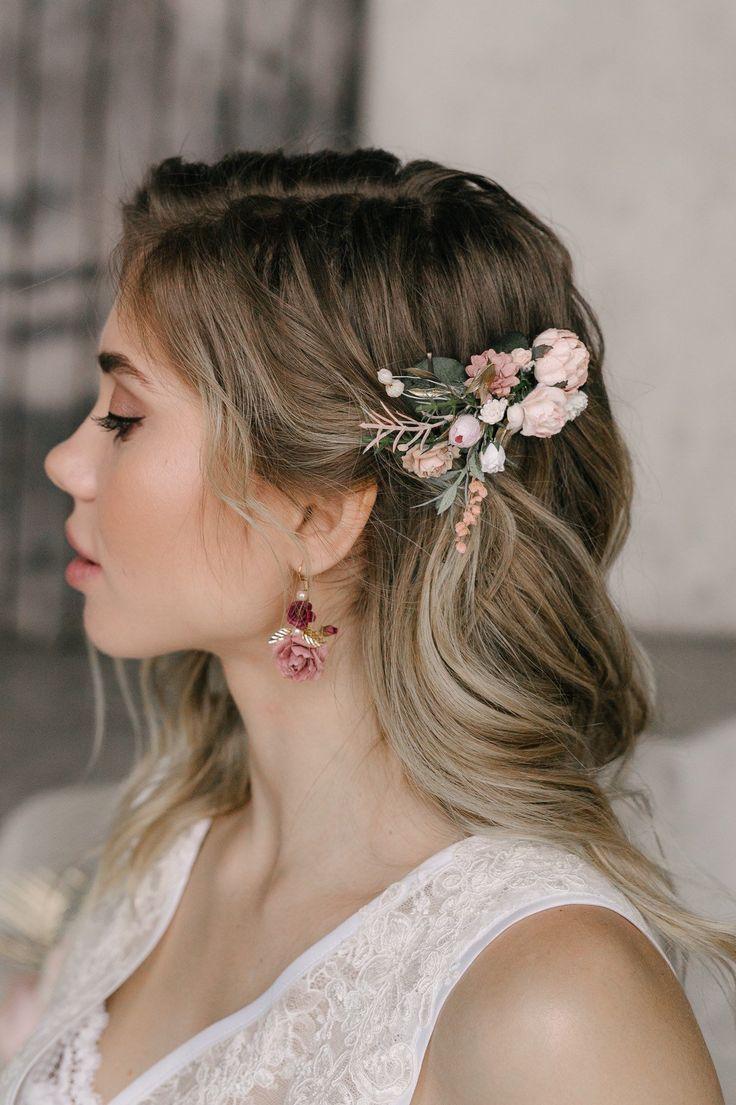Flower Hair Comb, Blush Hair Comb, Flower Hair Clip, Flower Hair Piece, Bridal Hair Piece, Wedding Headpiece #Flower #blush #Bride #Carrice #Haarsp