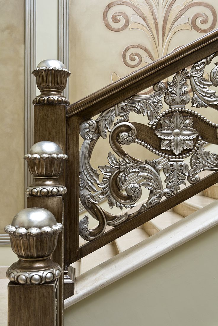 Best Silver Leaf Carved Stairway Railing Stairwayrailing 400 x 300