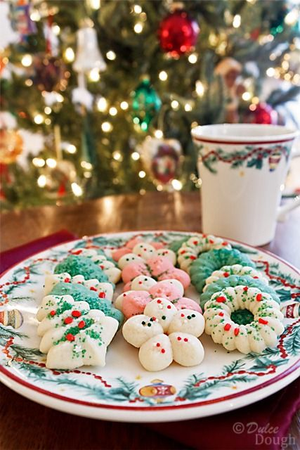Almond spritz cookies. A favorite cookie to decorate around my house! lol