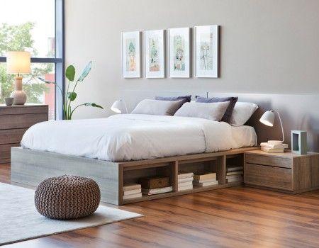 Cama con base de madera